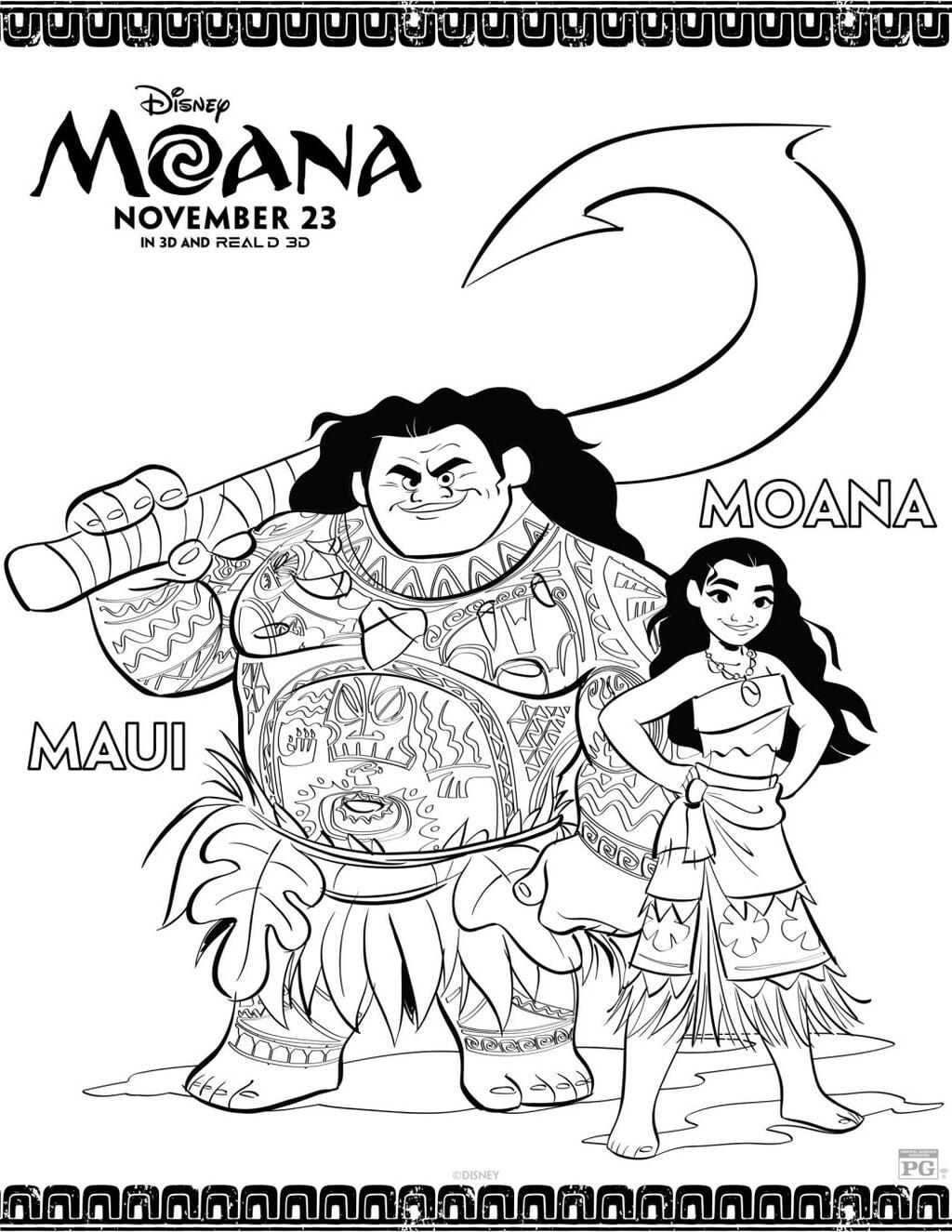 Moana Coloring Sheet with Moana and Maui