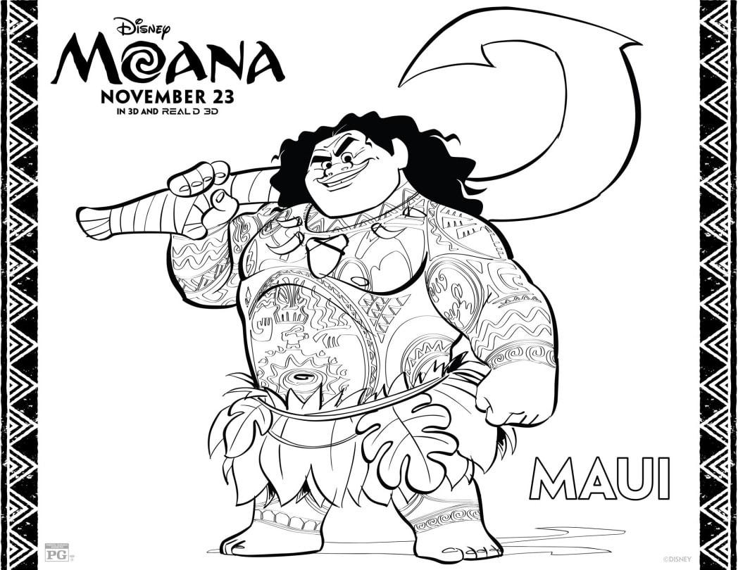 Moana Coloring Sheet With Maui