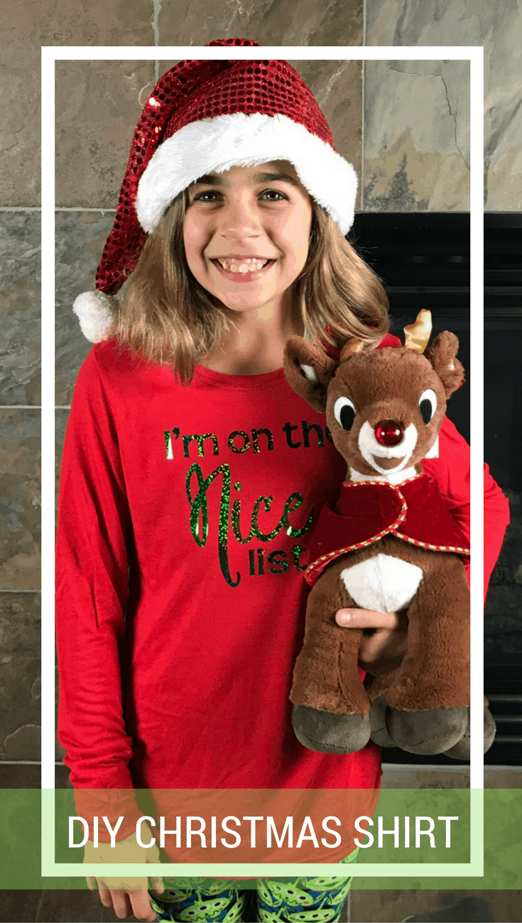 """DIY Christmas Shirt """"I'm on the Nice List"""" - with Cricut"""