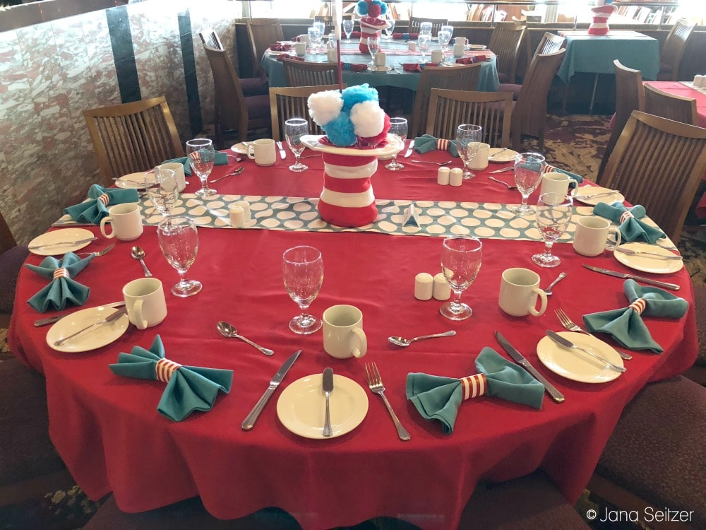 Best Cruise Activities for Tweens and Teens - Carnival Cruise - Green Eggs and Ham Breakfast set up