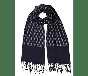 classic blue ikat scarf