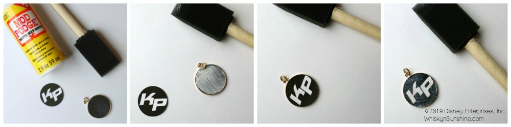 DIY Kim Possible Pendant Necklace Mod Podge in process