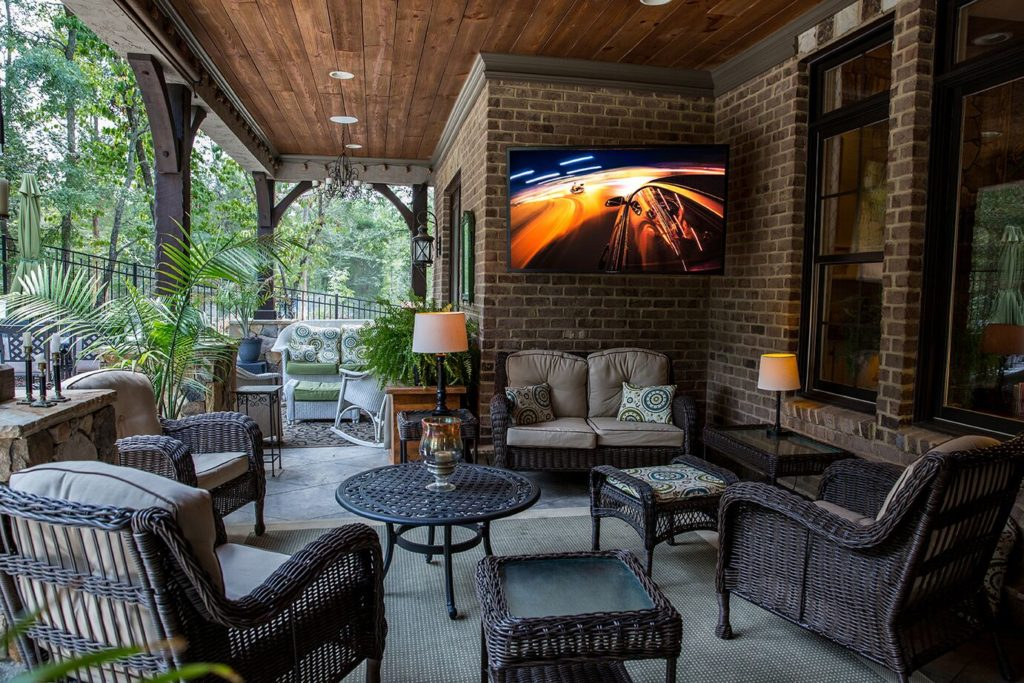 outdoor patio space with SunBrite TV