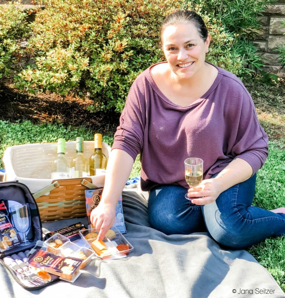 woman with easy DIY picnic
