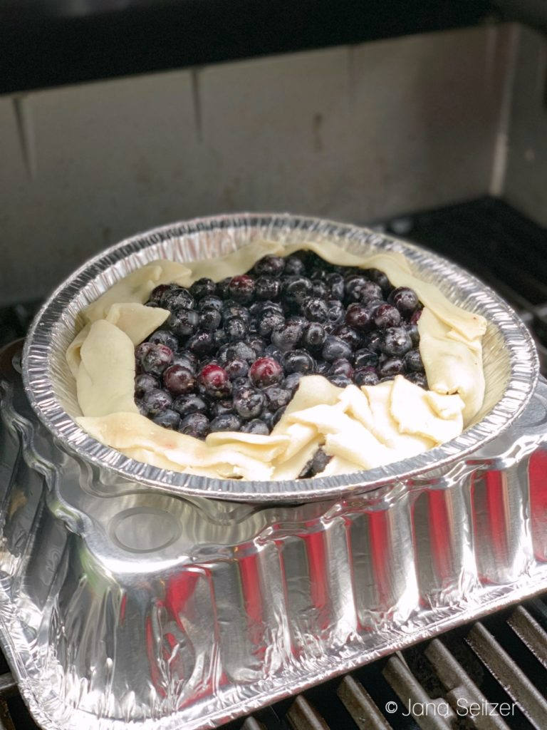Grilled Blueberry Pie on the grill