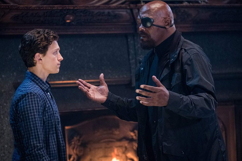 Nick Fury and Peter Parker in Spider-Man: Far From Home. Sony/Marvel