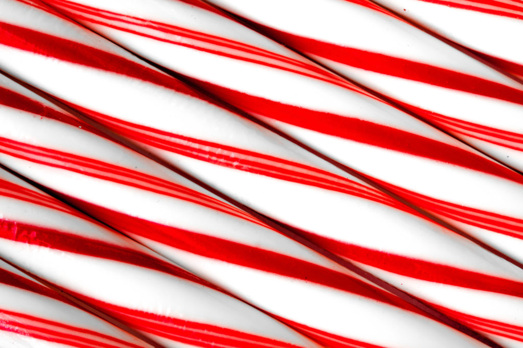 Closeup of peppermint candy canes side by side