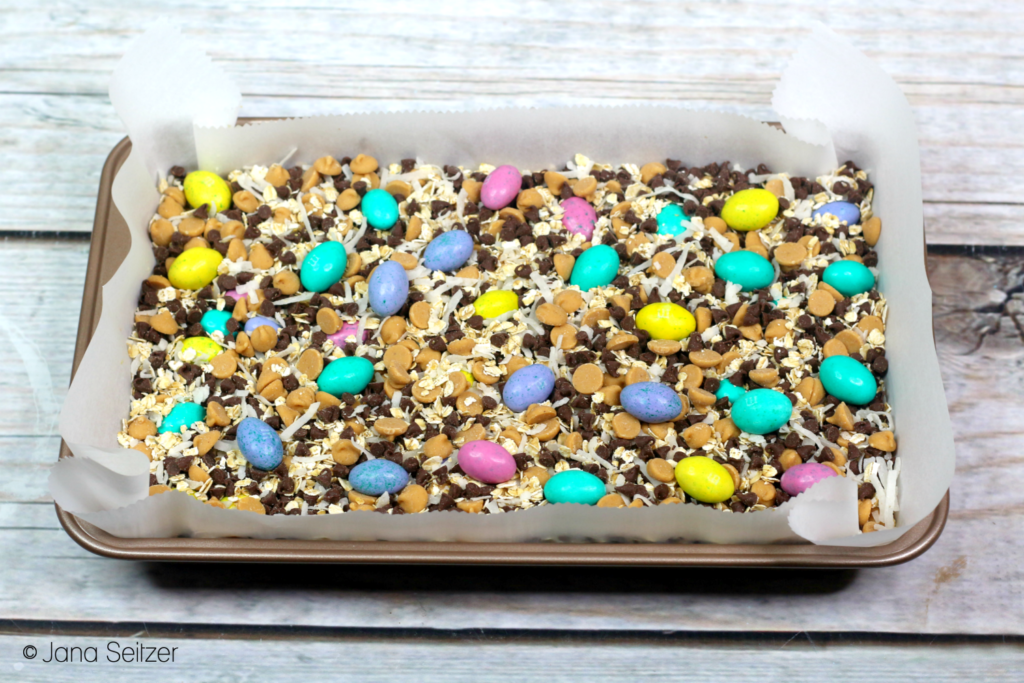Easter Magic Cookie Bars in process
