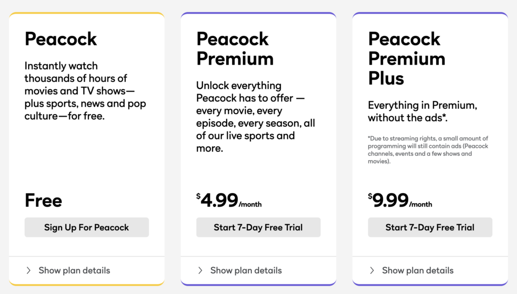 peacock pricing