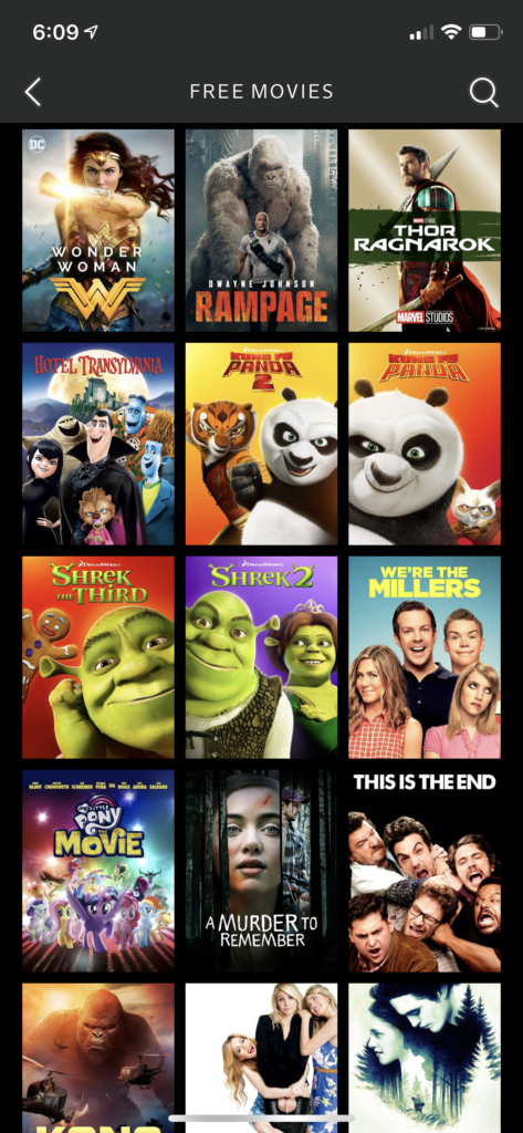 free movies on xfinity stream app