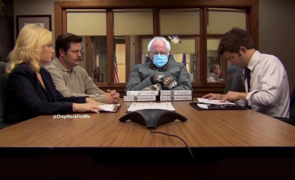 parks and rec bernie meme