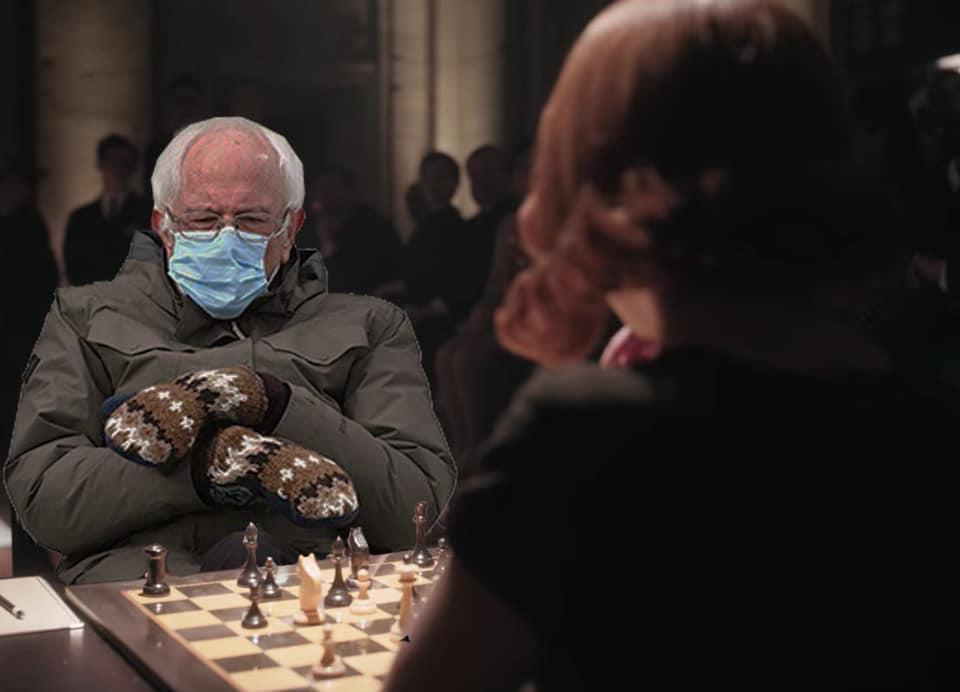 queen's gambit bernie meme