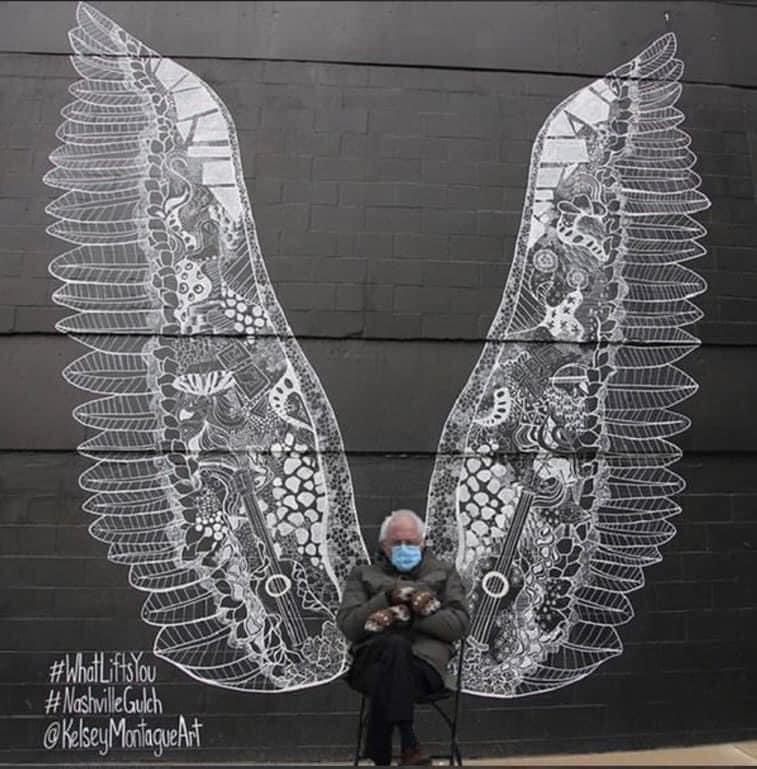 bernie angel wings meme