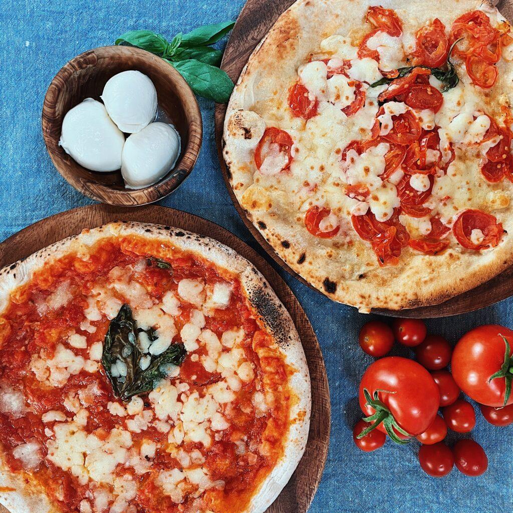 talia di napoli provolina and margherita pizza