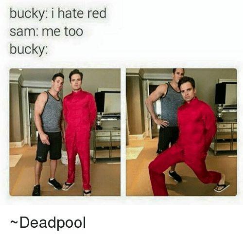 bucky in red, deadpool
