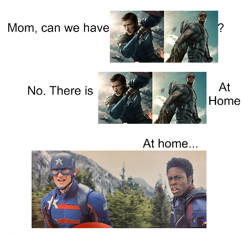 cap and falcon at home