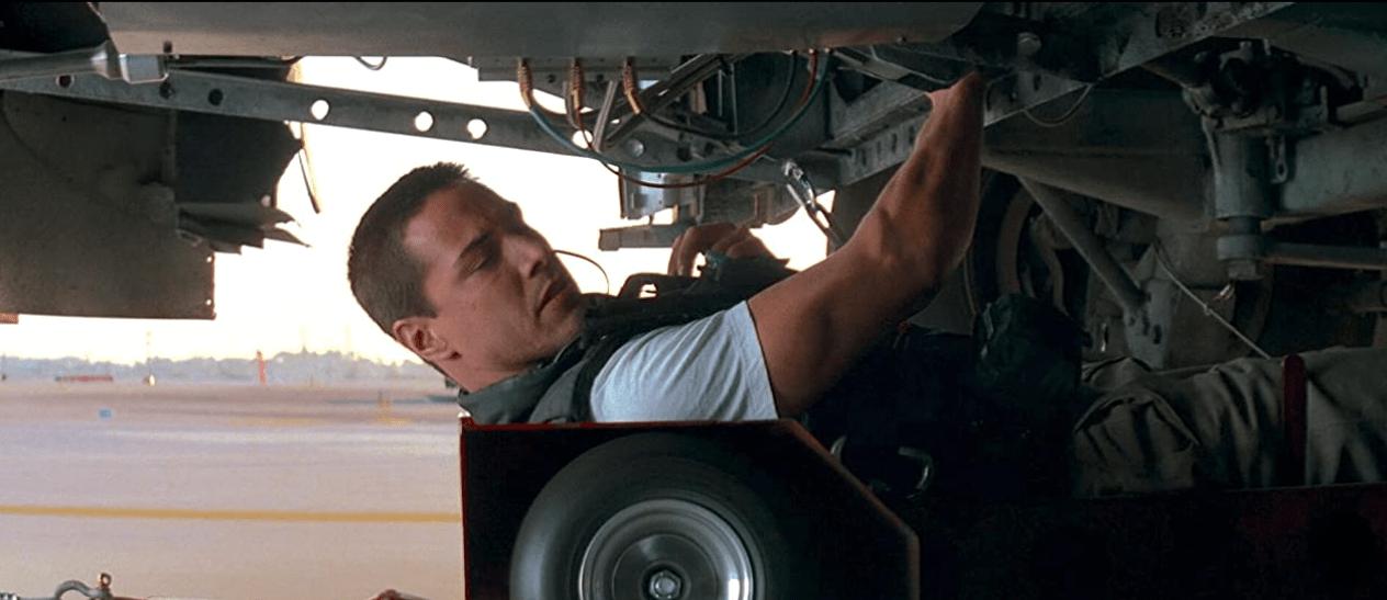 Keanu Reeves in Speed under the bus 1994