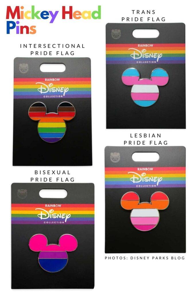 Mickey head pin pride flags
