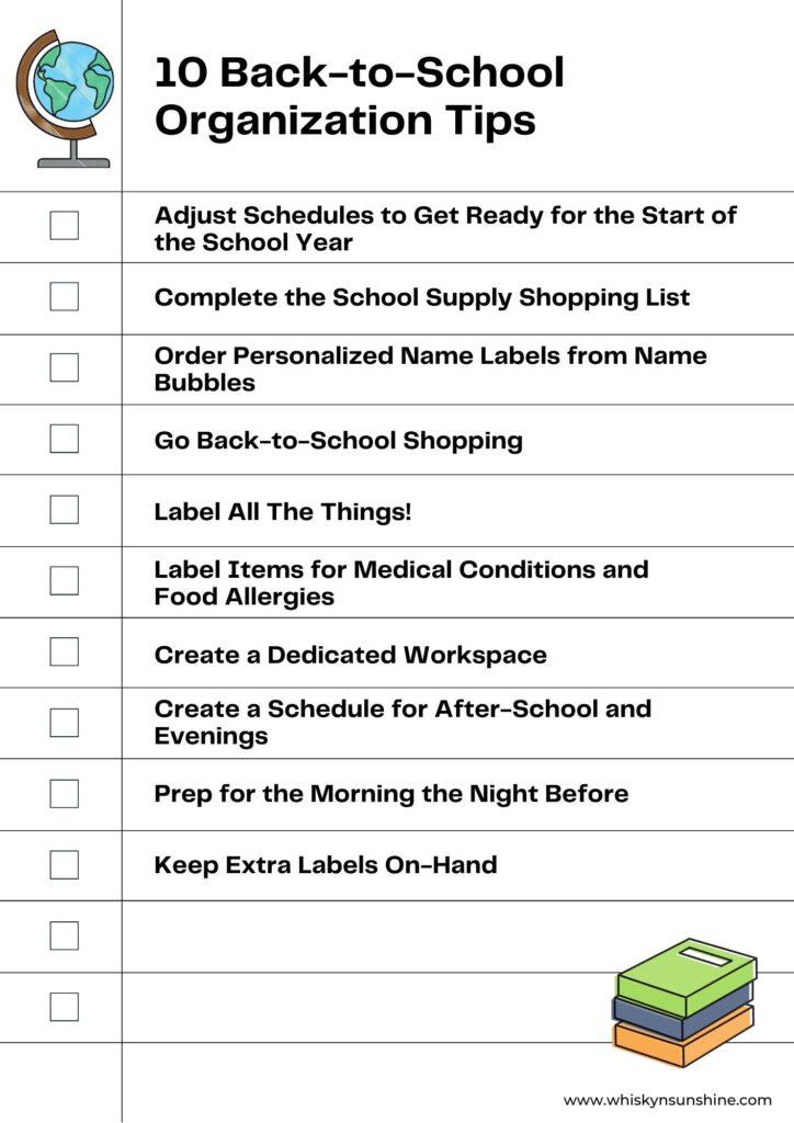 10 Back-to-School Organization Tips Checklist