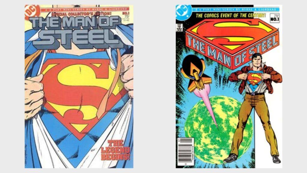 Variant covers forThe Man of Steel#1 (1986). Art byJohn Byrne.