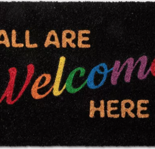 all are welcome here pride month merch that gives back