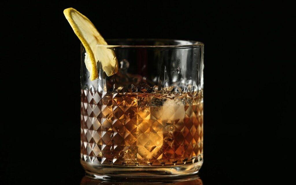 bourbon on the rocks with twist