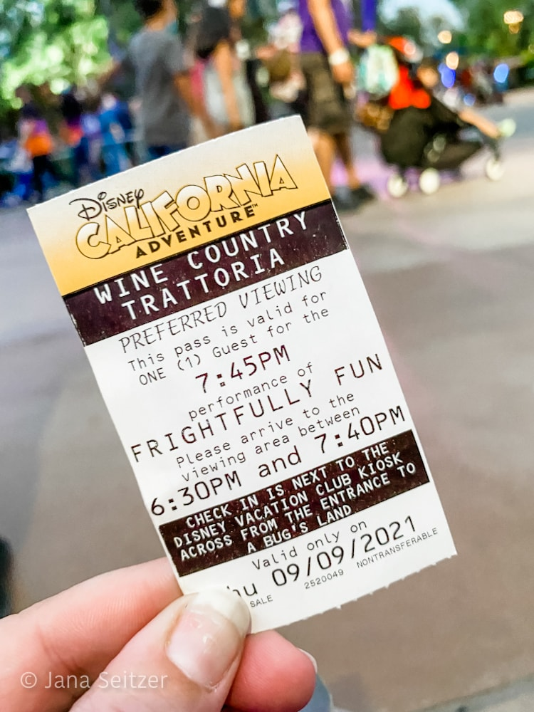 ticket for reserved viewing