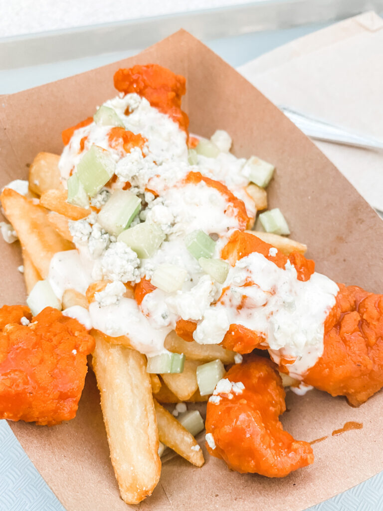 Oogie Boogie Bash Loaded Buffalo Chicken Fries from Flo's V-8 Cafe
