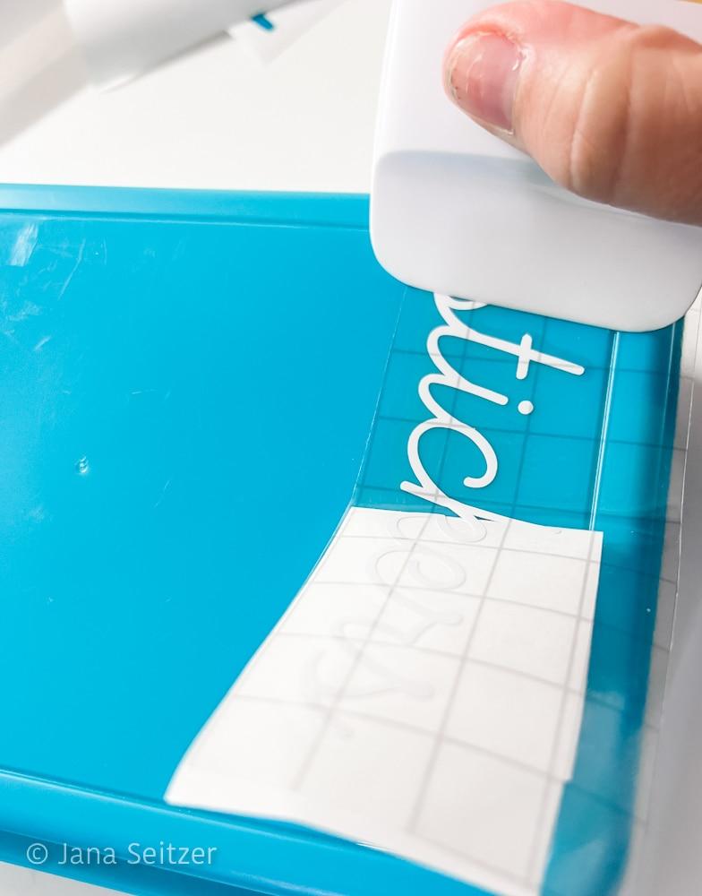 adhereing circut vinyl to product